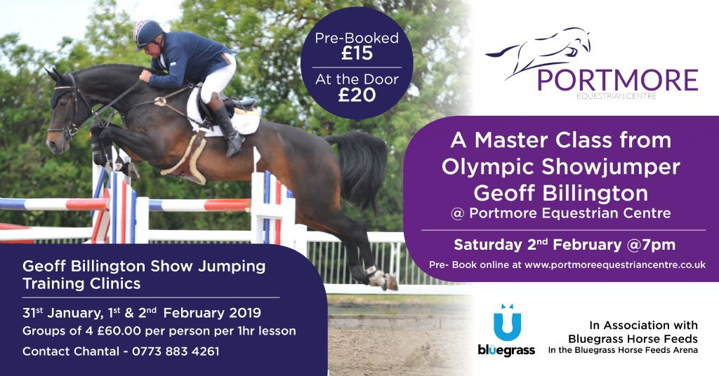An Evening with Geoff Billington. Portmore Equestrian Centre Host a Master Class with the Olympic Showjumper.